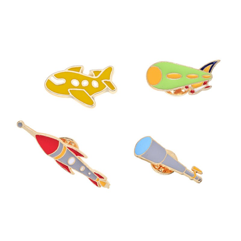 Airplane Rocket Spacecraft Enamel Pins and Brooches Backpack Metal Badges Bag Jackets Lapel Pin Decoration Jewelry Gifts For Kid image