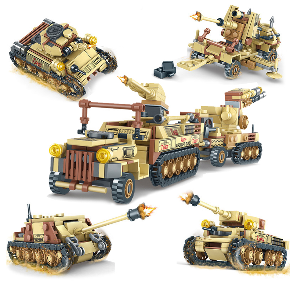 678PCS 4in1 World War 2 18T Trailer Vehicle Building Blocks Compatible Legoed Military German Tiger Tank Model Ww2 Soldiers Toys
