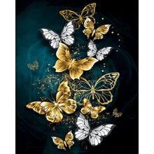 GATYZTORY 60 × 75cm ramka ręcznie malowany obrazek według numerów motyl farba według numerów krajobraz na płótnie ręcznie malowane zestawy ozdoby do dekoracji domu