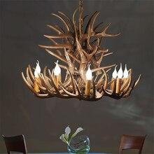 цена на American Antler Industrial LOFT Chandelier Resin Deer Horn Retro Antler Lighting Chandeliers Living Restaurant Bar LED Hanglamp