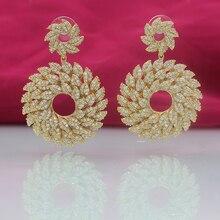 Wick doria female party swinging earrings zircon pendant wedding jewelry ladies tassel rose gold bohemian styl