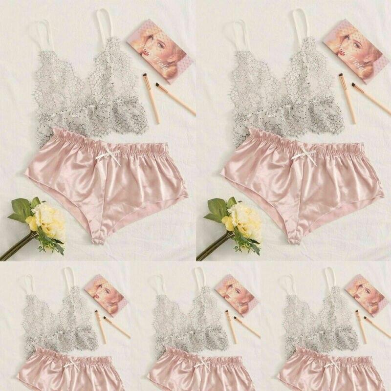 Sexy Women Pajamas Silk Pijamas Sleepwear Nightwear Deep V Sling Lingerie Set 2PCS Mesh Bikini Cover Up Beachwear