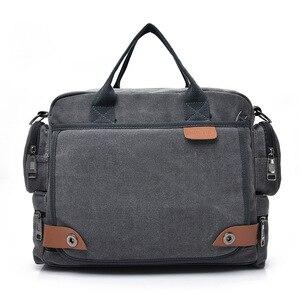 Image 3 - Multi function canvas men bag Fashion shoulder bag for men Business casual crossbody messenger bag briefcase travel bags