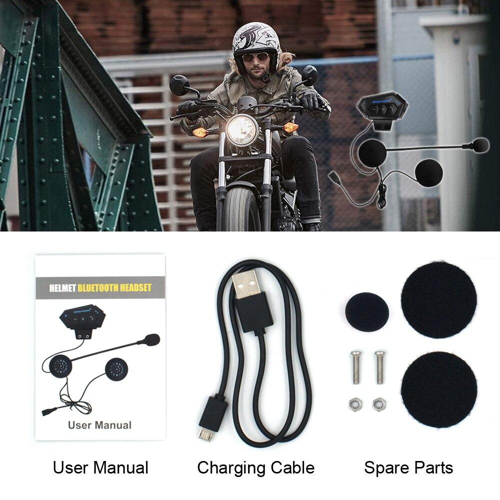 Мотоциклетная гарнитура BT12, стерео bluetooth-наушники на шлем, беспроводные наушники с громкой связью, музыкальный плеер для мотоциклиста