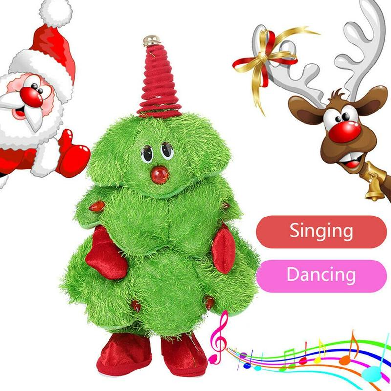 Christmas Electric Plush Toy Musical Singing And Dancing Christmas Tree Plush Doll Children Gifts Interactive Sound Toys