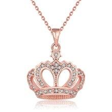 ZEMIOR с геометрическим рисунком для девочек Благородная королева с подвеской с изображением короны, ожерелья для женщин розового золота юбил...