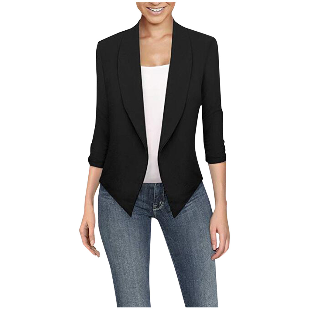 Feitong Jacket Women Office Lady Thin Office Lady Lapel Long Sleeved Turn-down Collar Suit Slim Cardigan Tops manteau femme
