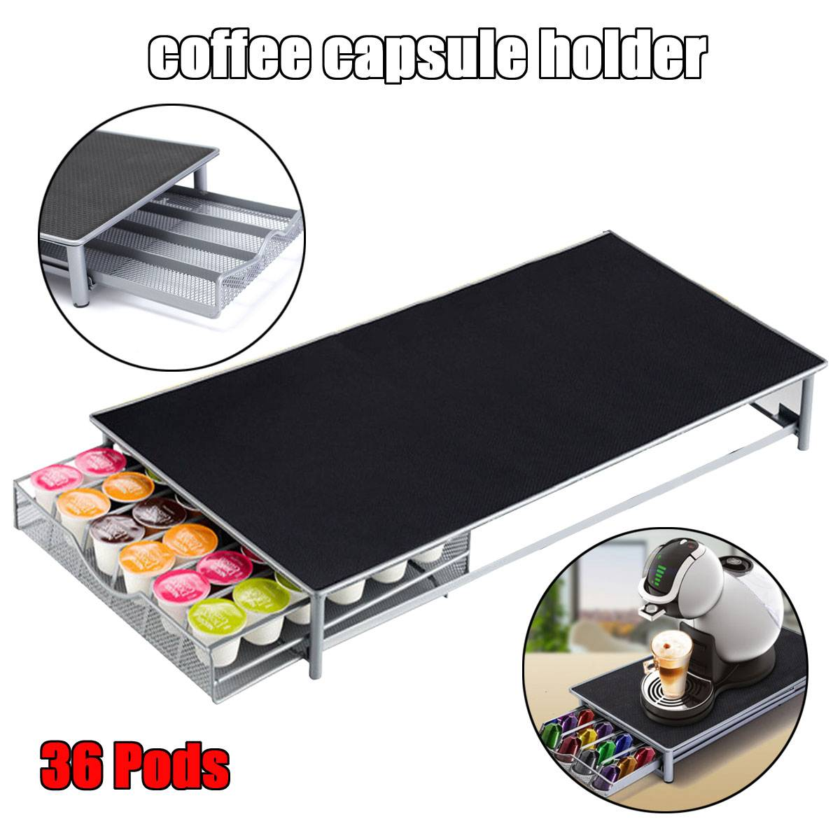 Stainless Steel 36 Cups Coffee Capsules Shelves Nespresso Coffee Capsules Pods Holder Storage Stand Rack Drawers Organization
