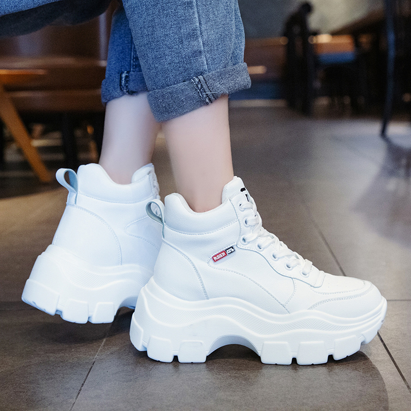 Platform Sneakers Shoes Woman Spring Autumn 2020 High Top Female Height Increase Chunky Shoes Casual White Shoes Women