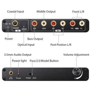 Image 4 - Prozor 192 khz 5.1ch dac 컨버터 볼륨 조절 디지털 아날로그 및 3.5mm 잭 오디오 컨버터 어댑터 (AC 3 용)