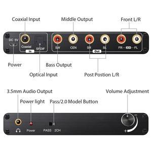 Image 4 - Prozor 192 khz 5.1ch dac conversor de controle de volume digital para analógico e 3.5mm jack conversor de áudio adaptador para AC 3