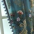 Европейские и американские винтажные вышитые тюлевые шторы для гостиной, синяя Роскошная тюль для виллы, отеля, Высококачественная вуаль ...