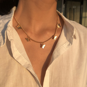 Fashion Gold Color Chain Butterfly Pendant Choker Necklace Women Statement Collares Bohemian Beach Jewelry Gift Collier Mujer(China)