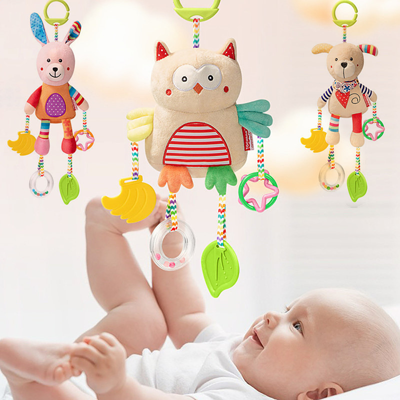 Soft Baby Stroller Hanging Toys Cute Animal Appease Plush Doll Crib Car Seat Hanging Newborn Baby Rattles Toys With Teether