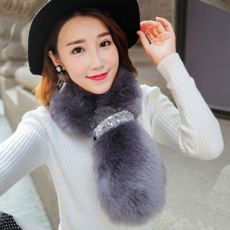 JKP Real Rex Rabbit Fur Women's Scarves 2019 New Winter Warm Soft Natural Rex Rabbit Fur Scarf Luxury Brand High Quality