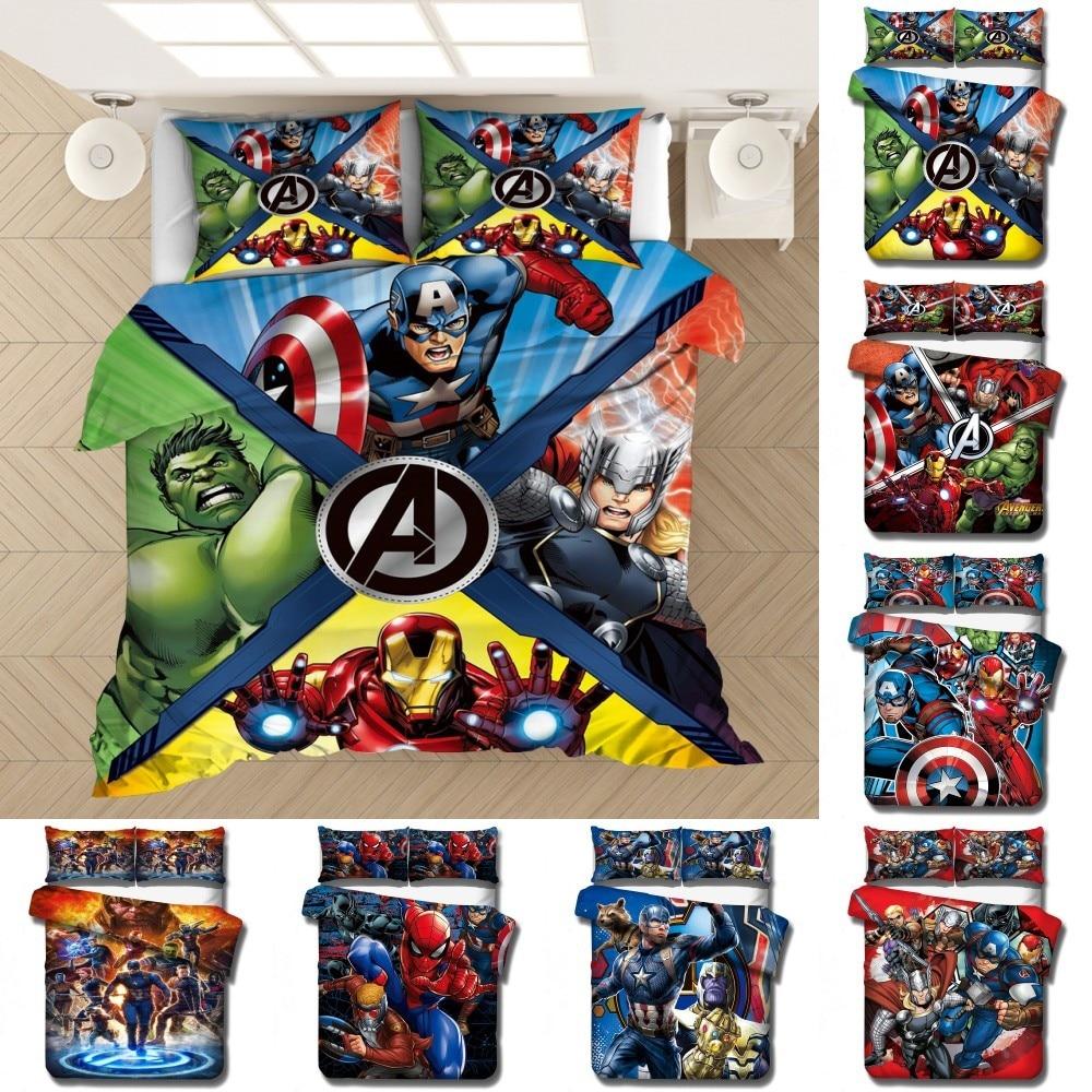 Disney The Avengers Captain America Bedding Set Baby Kids Boys Gift Duvet Covers Pillowcases Comforter Cover Adult Bedding