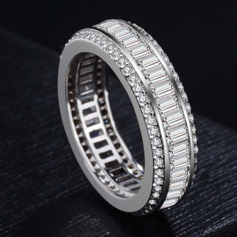 925 Silver Color Full Circle Three Rows of Set Diamond Ring Real Bizuteria Gemstone Anillos Whtie Topaz Diamond Jewelry Ring Box