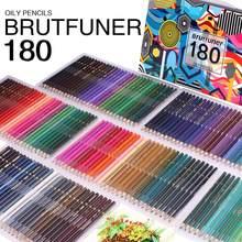 Brutfuner-Juego de lápices de Color de aceite para escuela, lápices profesionales de 48/72/120/160/180 colores, materiales para dibujo y Bellas Artes