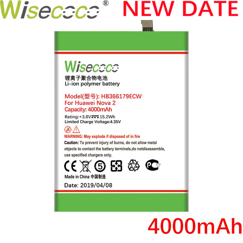 Wisecoco HB366179ECW 3900mAh New Battery For Huawei Nova 2 Nova2 PIC-AL00 PIC-TL00 PIC-L29 PIC-LX9 PIC-L09 battery