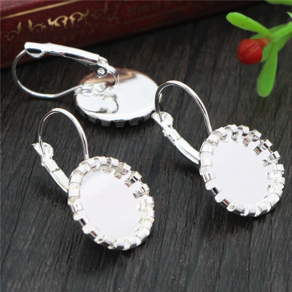 12mm 10pcs Bright Silver Plated Women Fashion Style French Lever Back Earrings Blank/Base,Fit 12mm Glass Cabochons (L2-36)