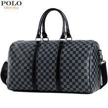 VICUNA POLO Casual Business uomo borse da viaggio Plaid di marca borsa da viaggio con rotolamento di grande capacità borsa da viaggio in pelle nera