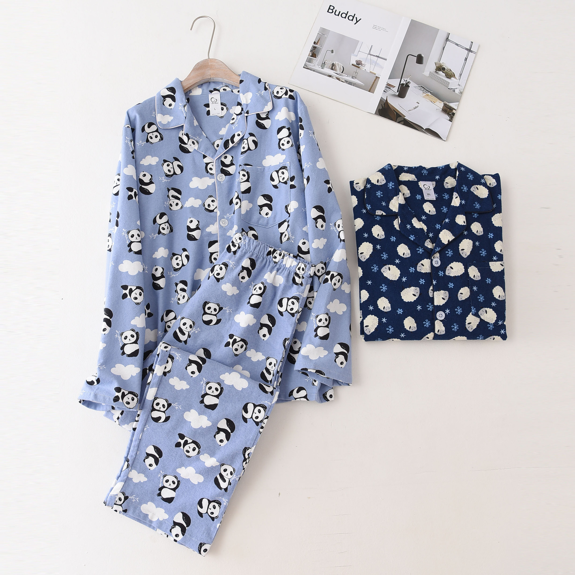 Mens Pajamas Cotton Long Sleeves Men Sleepwear Winter Lapel Cardigan Cartoon Sleeping Suits 100% Cotton Plus Size Mansleepwear