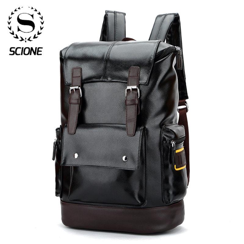 New PU Backpack Men Backpacks for School Bag Laptop Bags Brand Male Student Bag High Quality Travel Bags Large Capacity Business