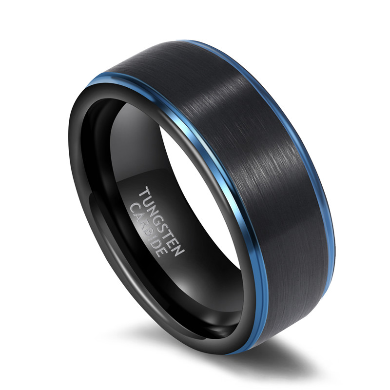6mm 8mm Women Men Black Ring with Blue Line Brushed Tungsten Carbide Daily Jewelry Unisex Chic Rings Dark Color