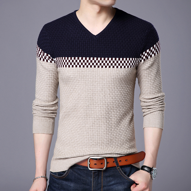 2019 New Autumn Winter Warm Wool Sweaters Casual Hit Color Patchwork V-neck Pullover Men Brand Slim Fit Cotton Sweater