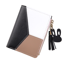 Women Wallet 2020 New Fashion Brief Patchwork Tassel Contras