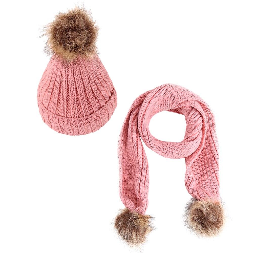 Children Plus Velvet Vertical Strip With Hair Ball Warm Knit Hat Scarf Wool Scarf Set Two-piece Winter Warm Outdoor Multi-piece