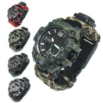 цена на 7 in 1 Outdoor Survival Watch Tactical Paracord Bracelet Watch with Compass Scraper Thermometer Paracord Whistle Camping Tools