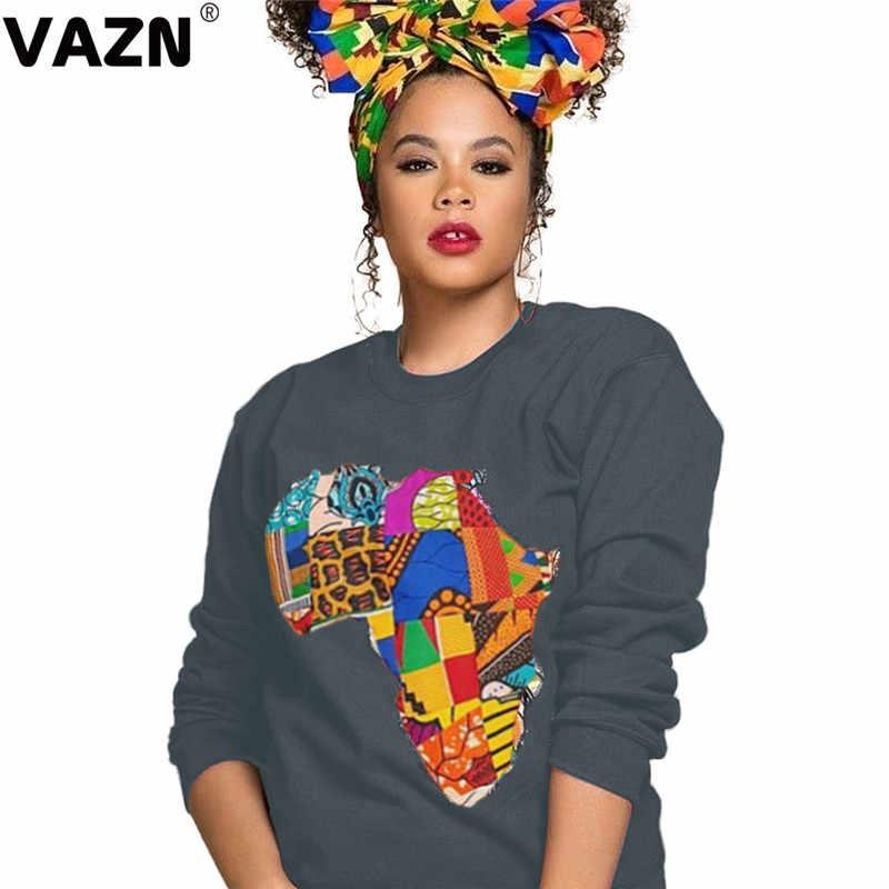 Vazn yh5012 가을 뜨거운 목록 나이 감소 캐주얼 오버올 소프트 패션 인쇄 라운드 넥 풀 슬리브 여성 bodycon 후드