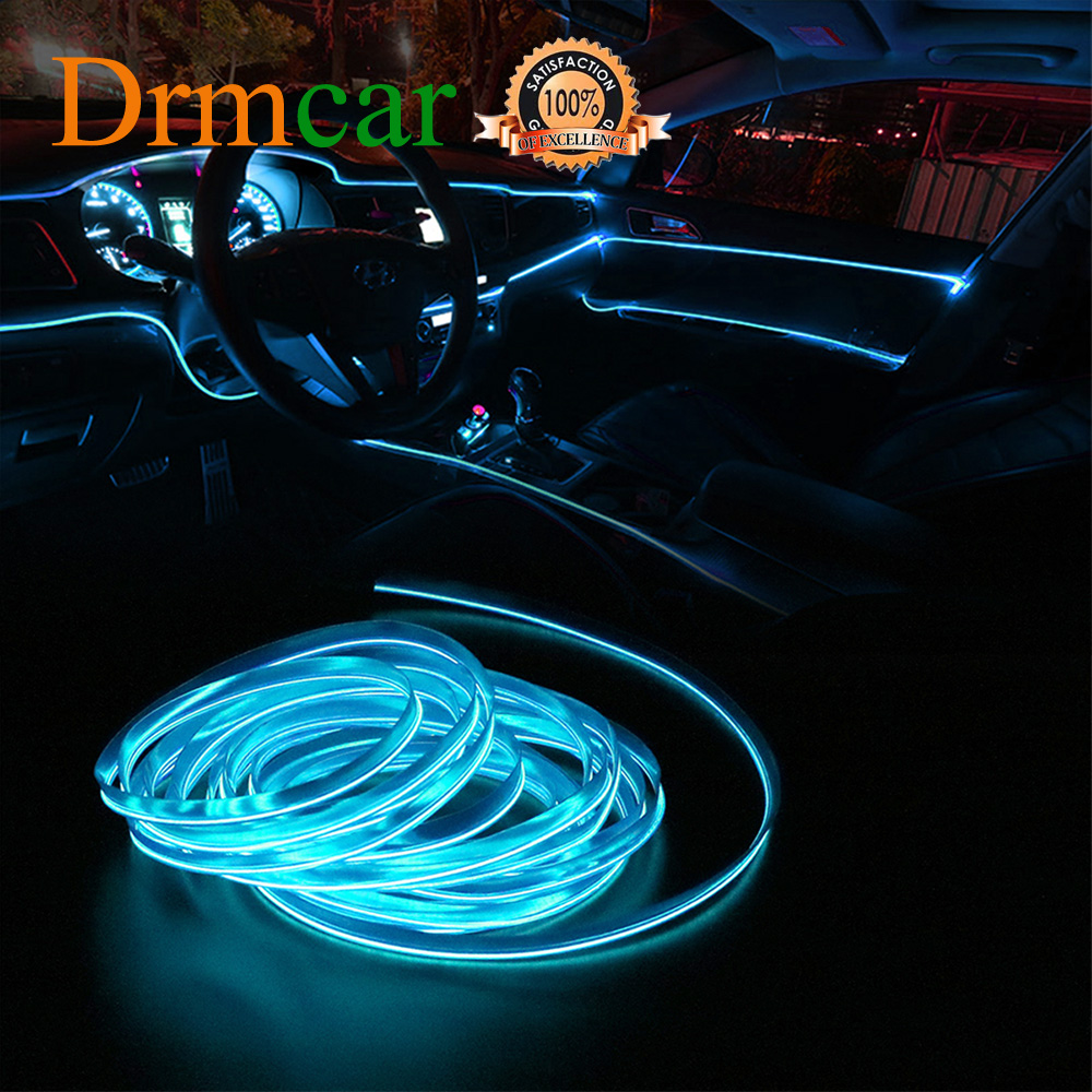 1M/2M/3M/5M Car Interior Lighting Auto LED Strip Wire Rope Tube Line Flexible Neon Light With 12V USB Cigarette Drive