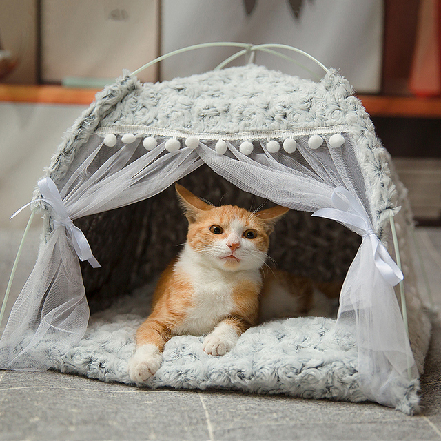 Gato quente do inverno cama dobrável pequenos gatos tenda casa gatinho para o cão cesta camas bonito casas de gato casa coxim pet canil produtos 1