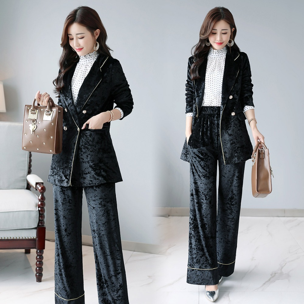 Spring Work Pant Suits OL Double Breasted velvet Blazer Jacket & Elastic waist Pant 2 Piece Sets Suit Women Outfits Feminino 17
