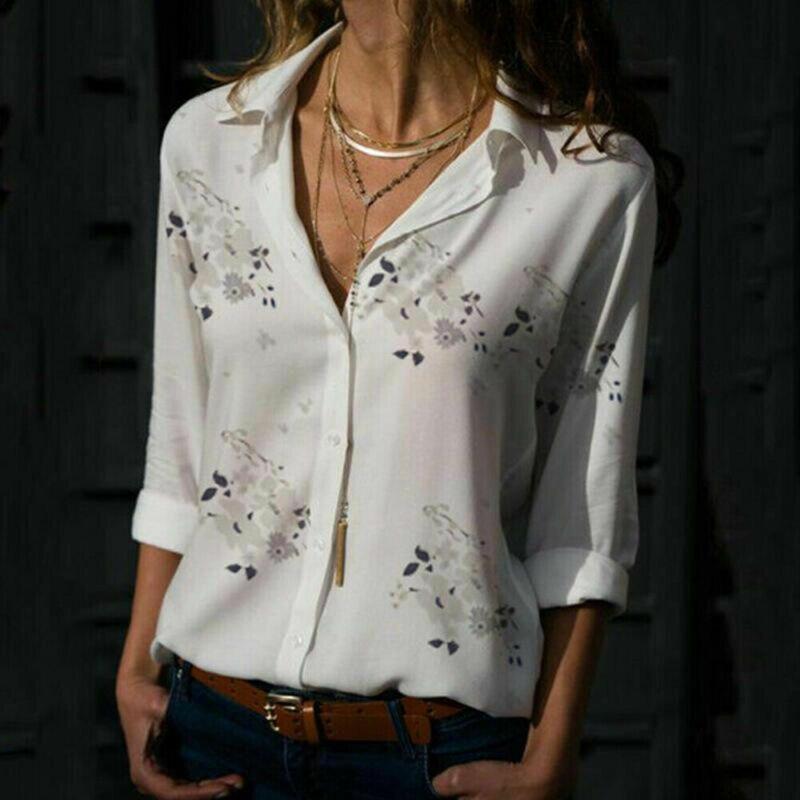 Женская Повседневная Свободная блузка с длинным рукавом, рубашка с цветочным принтом и v-образным вырезом на пуговицах