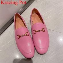 Krazing Pot big size 33-44 genuine leather spring shoes round toe slip on loafers classics metal luxury brand dress women flats