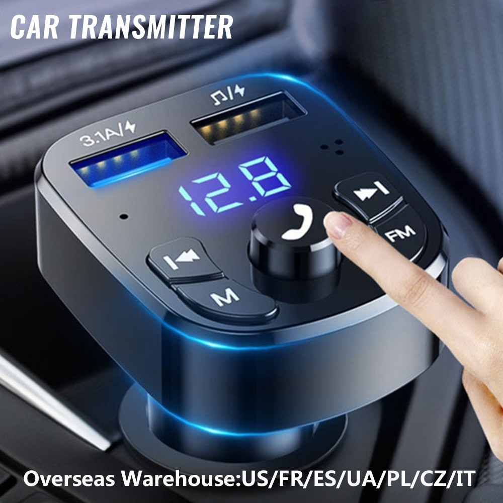 Bluetooth Version 5.0 FM Transmitter Car Player Kit Card Car Charger Quick With QC3.0 Dual USB Voltmeter & AUX IN/OUT DC 12/24V