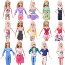 Модная Одежда для кукол Барби купальники рубашка джинсовая юбка