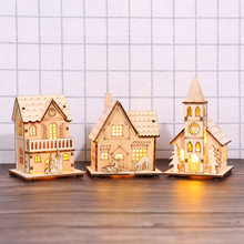 Glowing Cabins Wooden LED House Lighted Cabin Party Wedding Decoration Christmas JA55