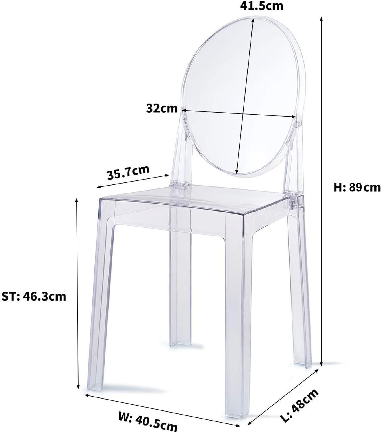 Set of 6 Dining Chairs Transparent Crystal Ghost Chair with Oval Back Modern Makeup Dressing Chair Stackable Garden Chairs Set 3