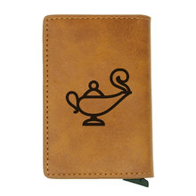 Personality Aladdin and the magic lamp Symbol Design Rfid Wallet Classic Men Women Credit Card Red Leather Wallets Short Purse(China)