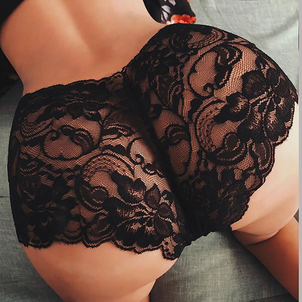 <font><b>Sexy</b></font> Women Lace Floral Underwear Elegant Femme See-through Panties Transparent Elastic Waist <font><b>Lingerie</b></font> Boyshort Plus Size <font><b>5XL</b></font> image