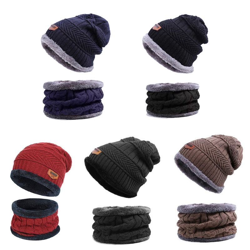 2020 New Men Women Winter Warm Beanie Hat Hat+Scarf Set Warm Knit Thick Fleece Lined Caps