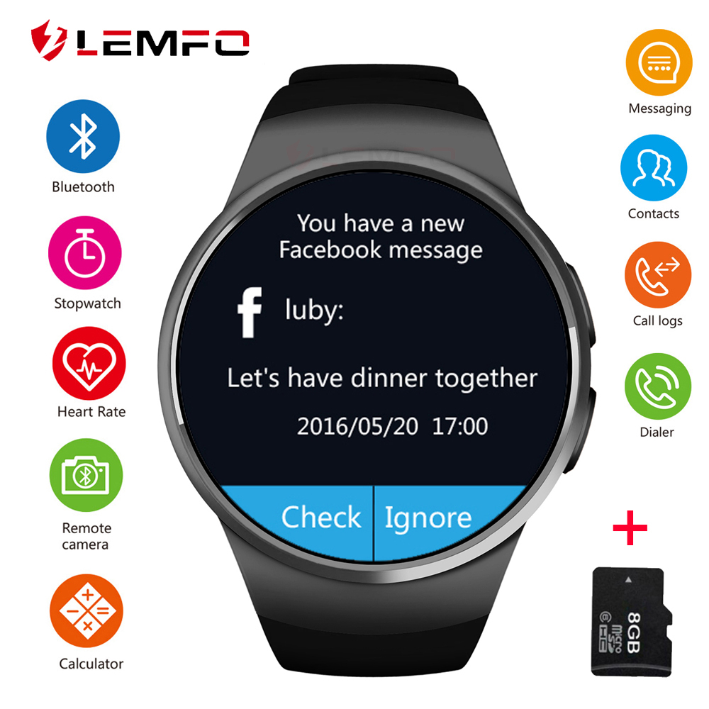 LEMFO Smart Watch Men KW18 Support SIM TF Card Bluetooth Call Heart Rate Pedometer Sport Modes Smartwatch For Android IOS