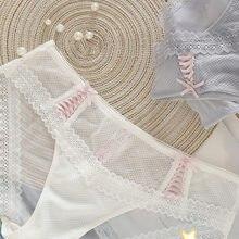 Nova Verão Líquida Transparente Sexy Calcinha de Renda Bonito Transparente Sem Emenda Roupa Interior Sex Lingerie Rosa Calcinhas de Algodão Tangas Virilha