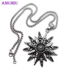 AMUMIU Compass Necklace Viking Elder Pendant Pagan Chain Necklace For Women Men Fashion Christian Stainless Steel Jewelry P093(China)