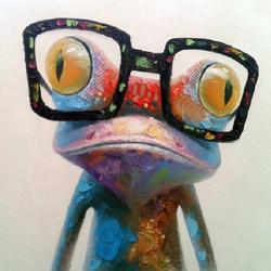 100% Hand Painted Happy Frog Oil Painting Canvas Wall Art for Living Room Modern Art Decor Your Home Stretched Ready to hang
