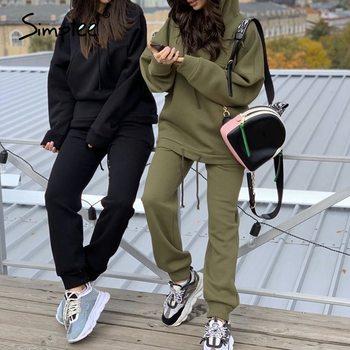Simplee Fashion oversized hoodie set women Thick fleece sport suit hooded sweatshirt Autumn winter women's two piece set 2020 1